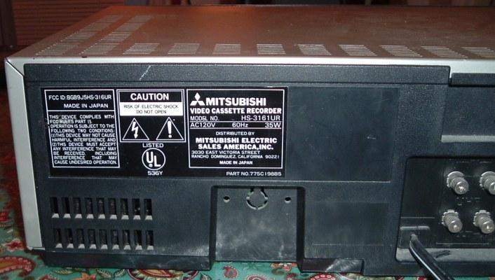 Mitsubishi VHS VCR Model HS-3161UR
